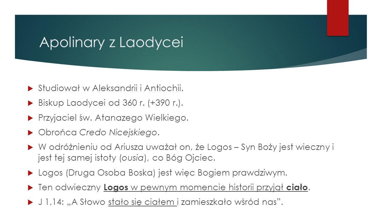 Apolinary z Laodycei Studiował w Aleksandrii i Antiochii.