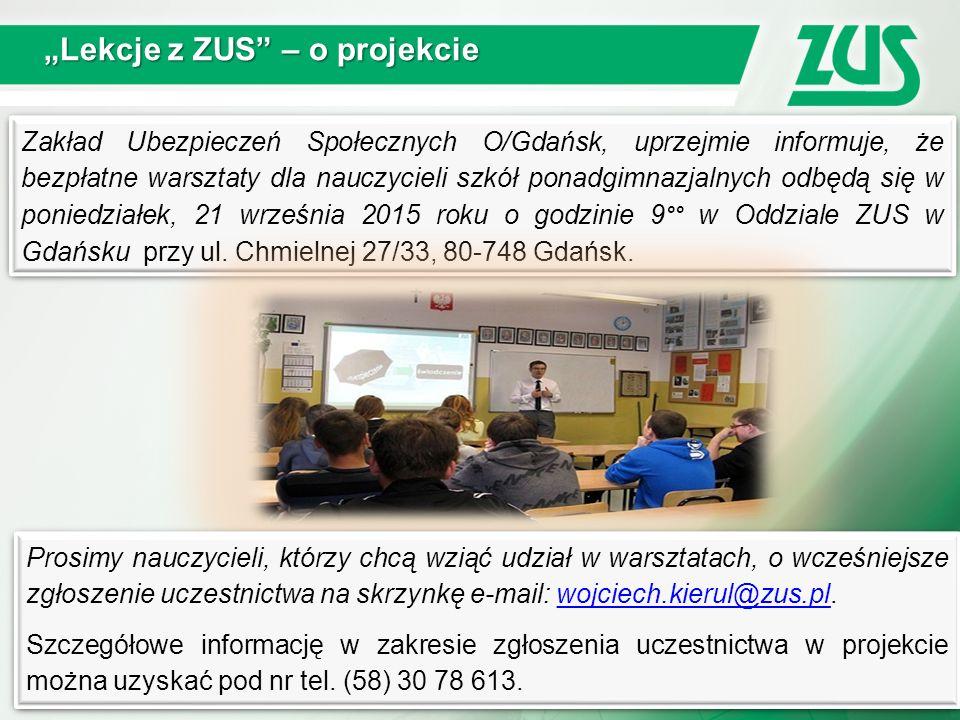 """""""Lekcje z ZUS – o projekcie"""