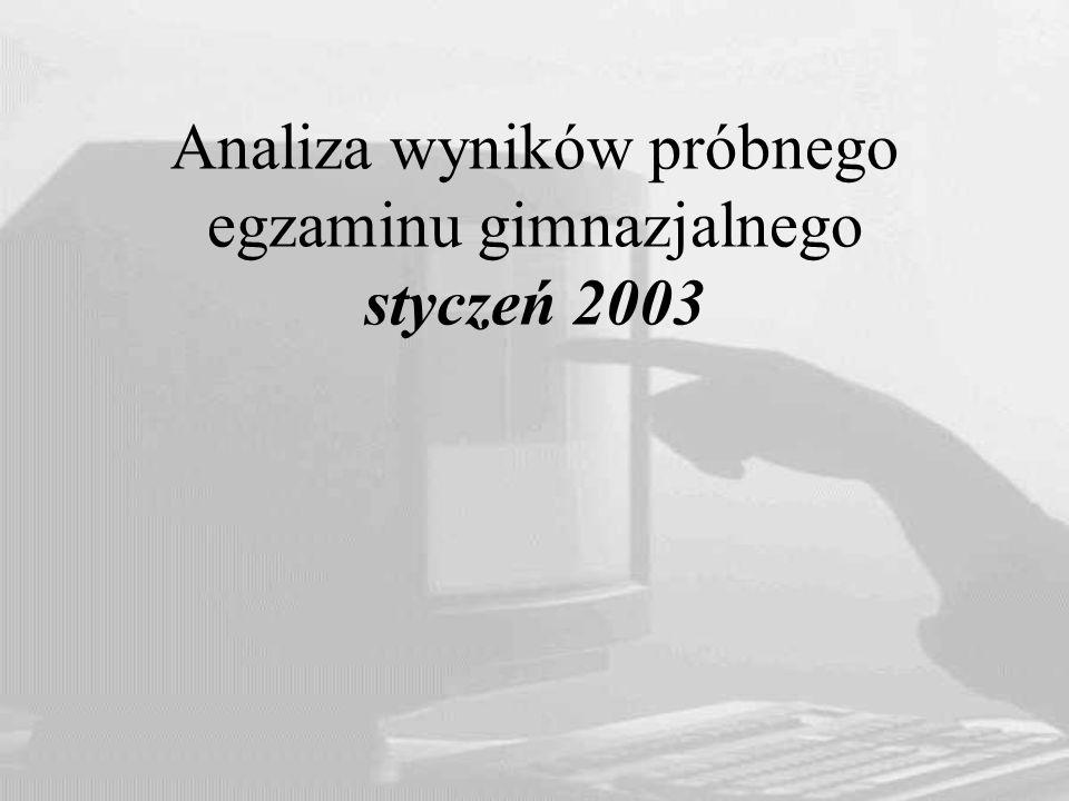 Analiza wyników próbnego egzaminu gimnazjalnego styczeń 2003