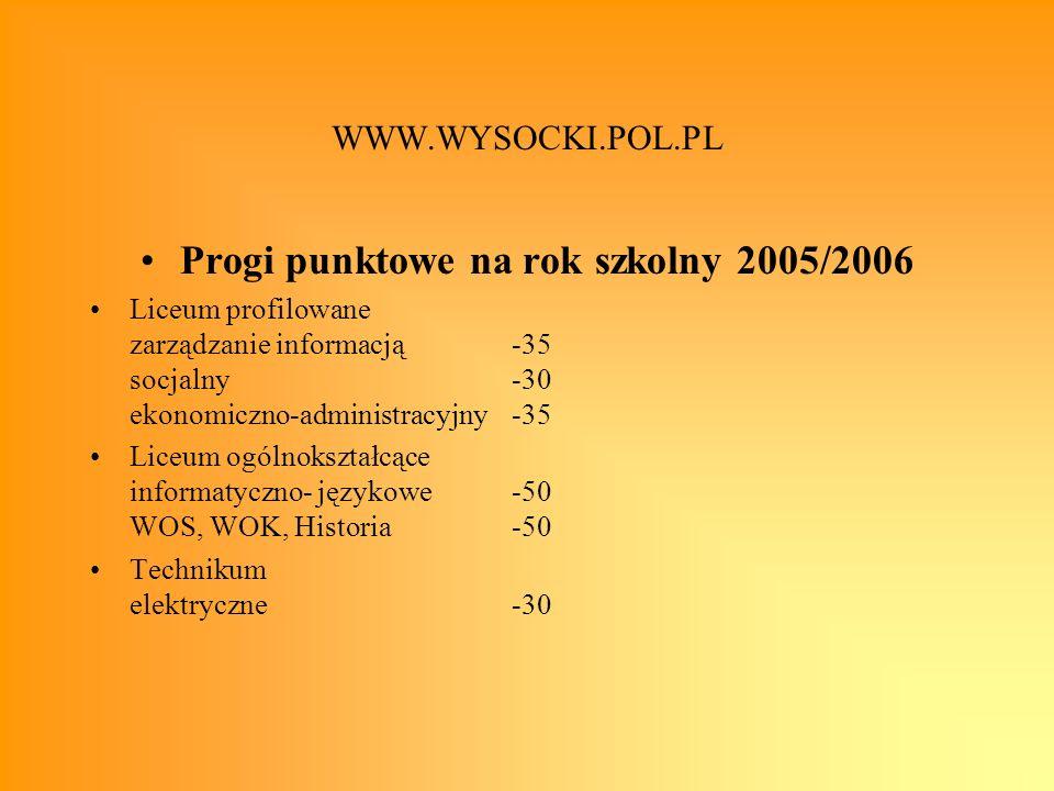 Progi punktowe na rok szkolny 2005/2006