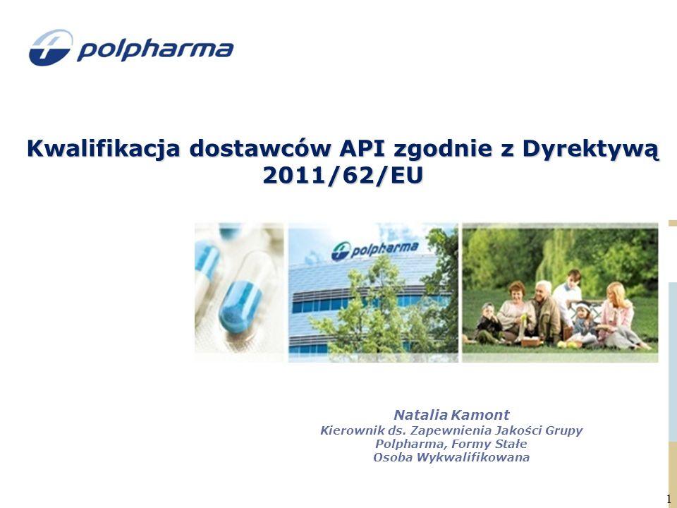 Kwalifikacja dostawców API zgodnie z Dyrektywą 2011/62/EU