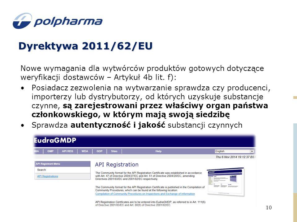Dyrektywa 2011/62/EU Nowe wymagania dla wytwórców produktów gotowych dotyczące weryfikacji dostawców – Artykuł 4b lit. f):