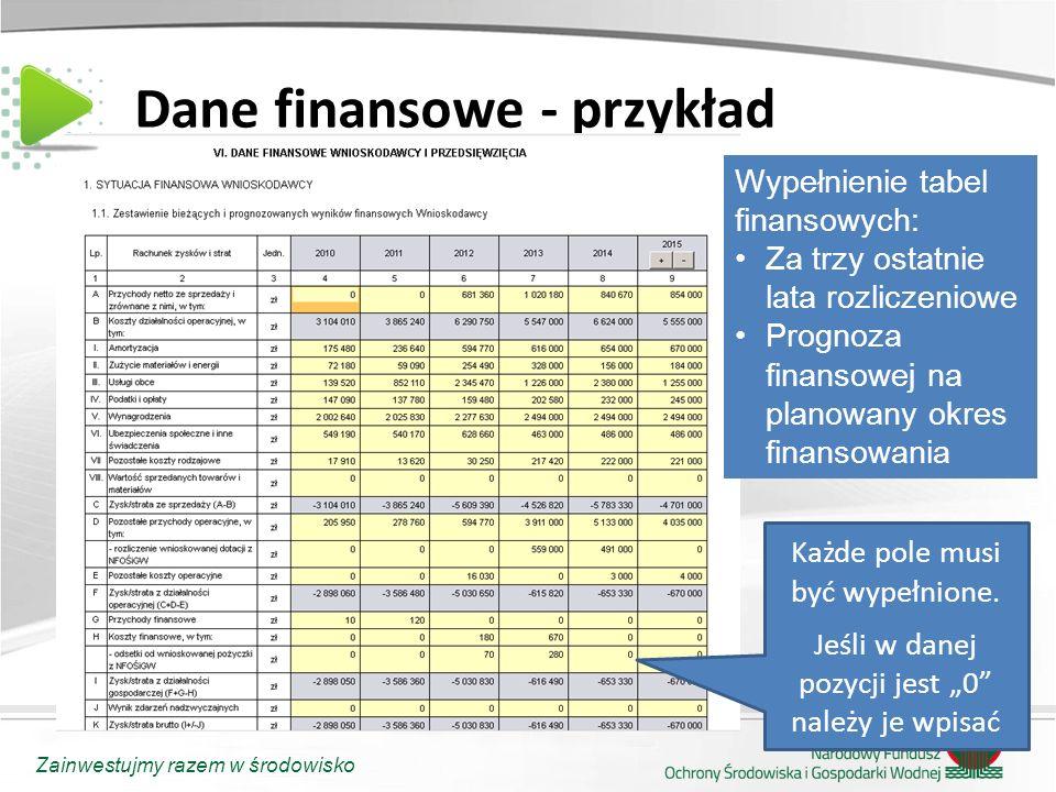 Dane finansowe - przykład