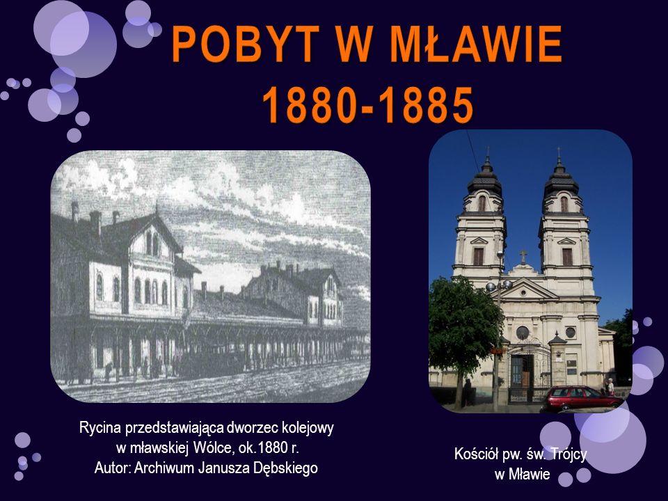 POBYT W MŁAWIE 1880-1885 Rycina przedstawiająca dworzec kolejowy