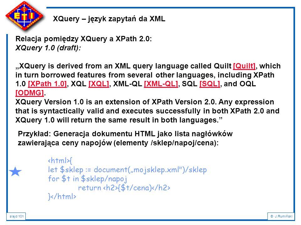 XQuery – język zapytań da XML