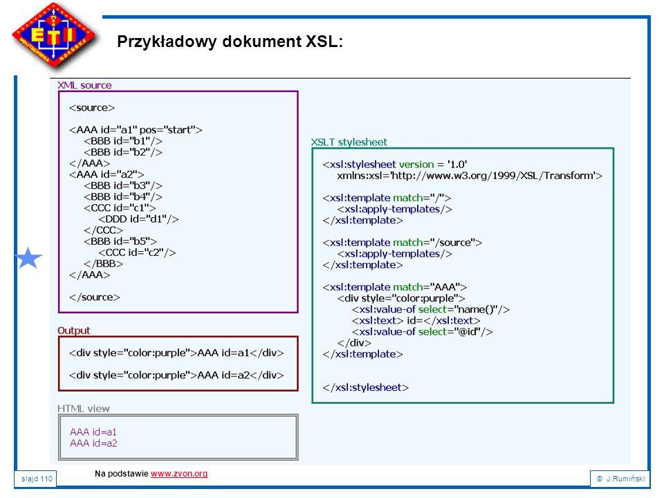 Przykładowy dokument XSL: