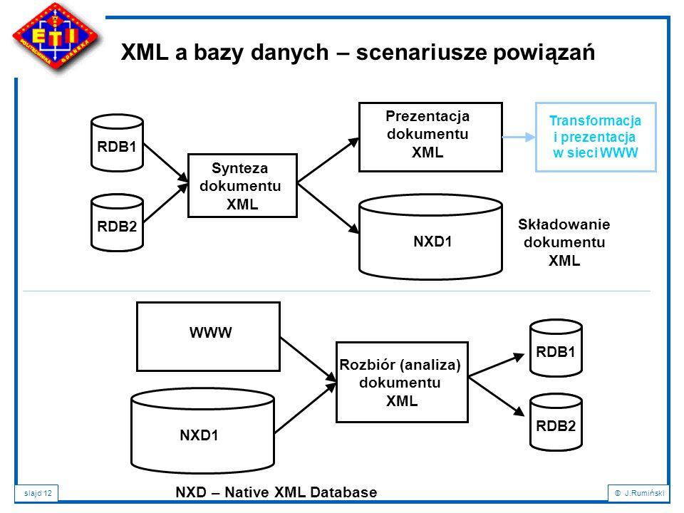 XML a bazy danych – scenariusze powiązań