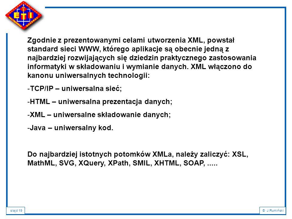 Zgodnie z prezentowanymi celami utworzenia XML, powstał standard sieci WWW, którego aplikacje są obecnie jedną z najbardziej rozwijających się dziedzin praktycznego zastosowania informatyki w składowaniu i wymianie danych. XML włączono do kanonu uniwersalnych technologii:
