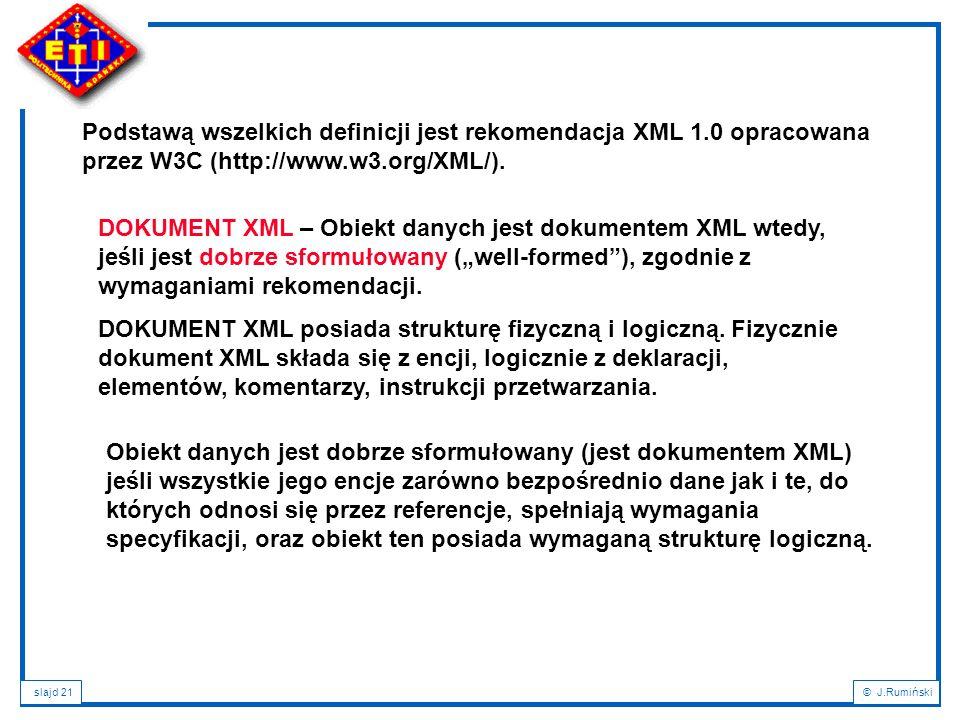 Podstawą wszelkich definicji jest rekomendacja XML 1