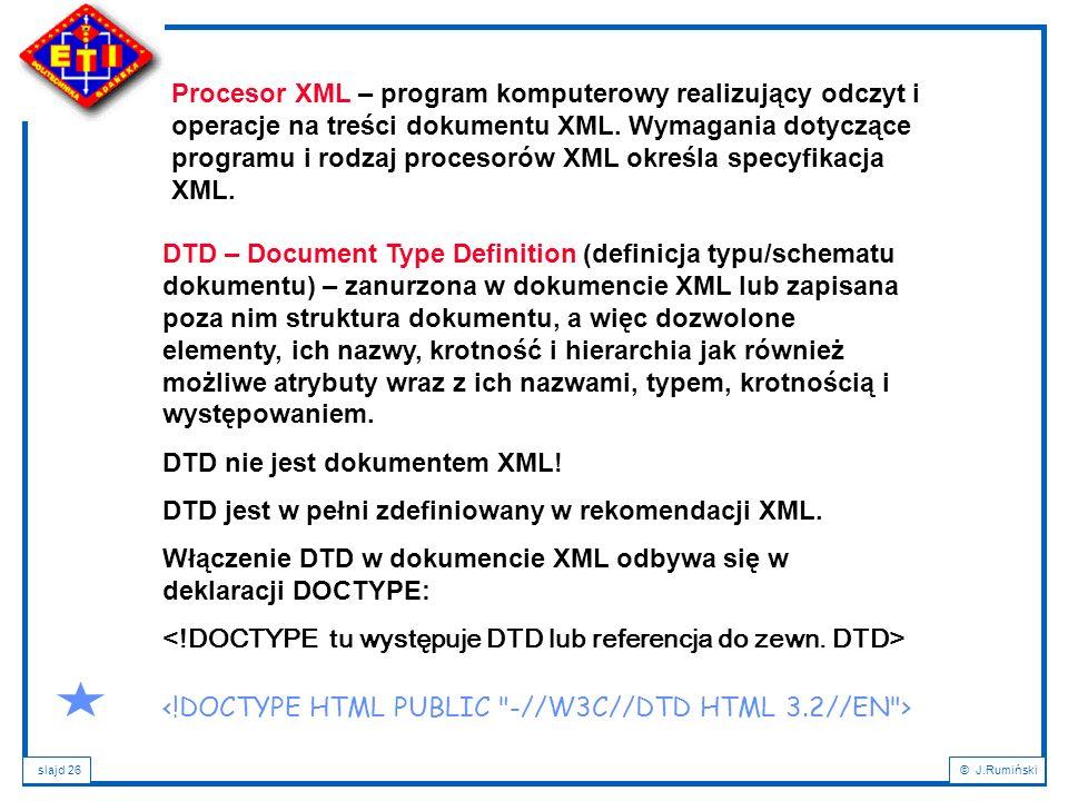 Procesor XML – program komputerowy realizujący odczyt i operacje na treści dokumentu XML. Wymagania dotyczące programu i rodzaj procesorów XML określa specyfikacja XML.