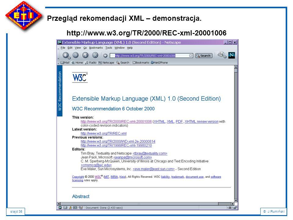 Przegląd rekomendacji XML – demonstracja.
