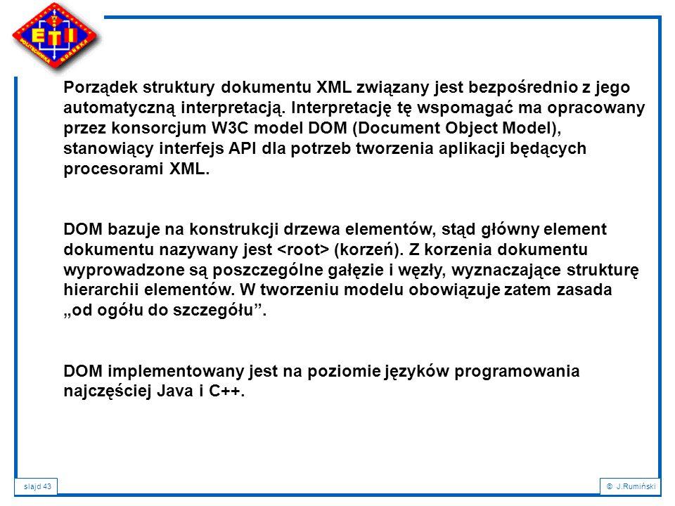 Porządek struktury dokumentu XML związany jest bezpośrednio z jego automatyczną interpretacją. Interpretację tę wspomagać ma opracowany przez konsorcjum W3C model DOM (Document Object Model), stanowiący interfejs API dla potrzeb tworzenia aplikacji będących procesorami XML.