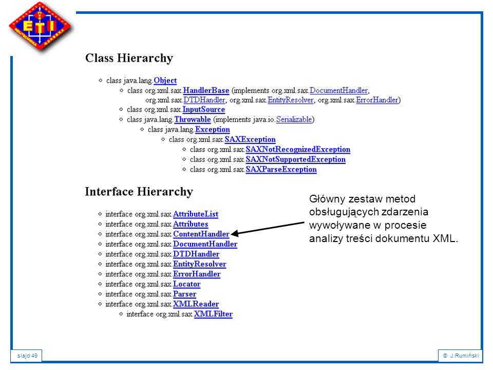 Główny zestaw metod obsługujących zdarzenia wywoływane w procesie analizy treści dokumentu XML.