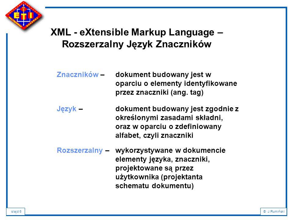 XML - eXtensible Markup Language – Rozszerzalny Język Znaczników