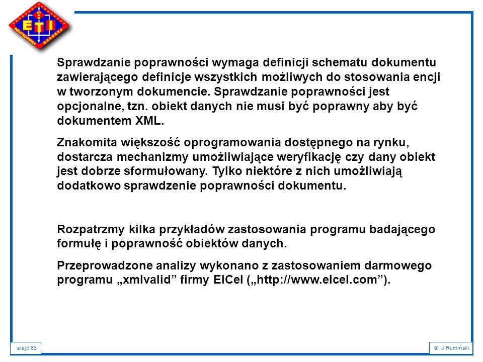 Sprawdzanie poprawności wymaga definicji schematu dokumentu zawierającego definicje wszystkich możliwych do stosowania encji w tworzonym dokumencie. Sprawdzanie poprawności jest opcjonalne, tzn. obiekt danych nie musi być poprawny aby być dokumentem XML.