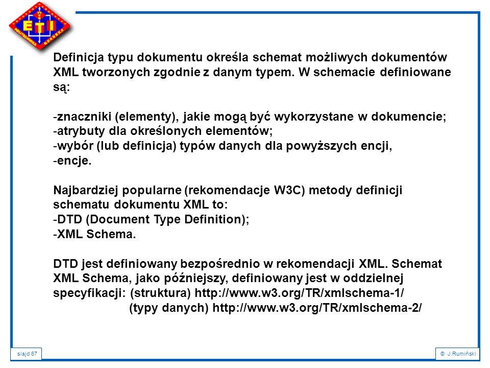 Definicja typu dokumentu określa schemat możliwych dokumentów XML tworzonych zgodnie z danym typem. W schemacie definiowane są: