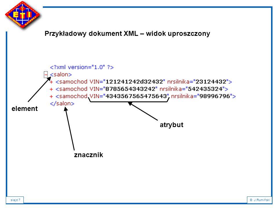 Przykładowy dokument XML – widok uproszczony