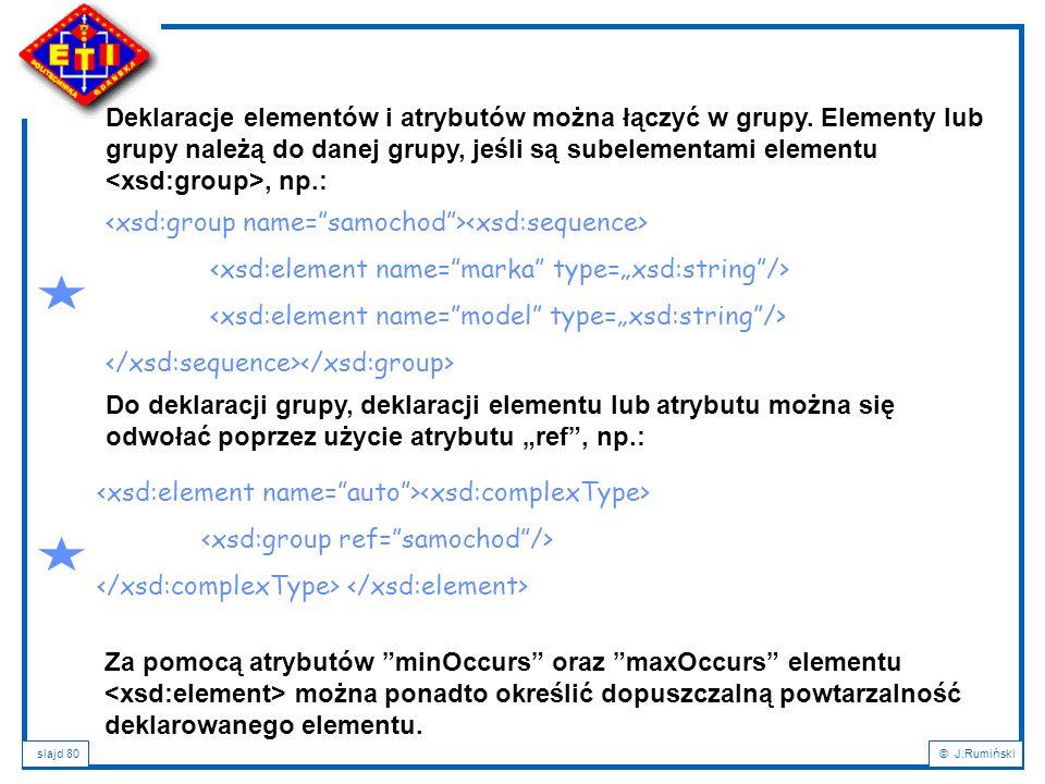 Deklaracje elementów i atrybutów można łączyć w grupy