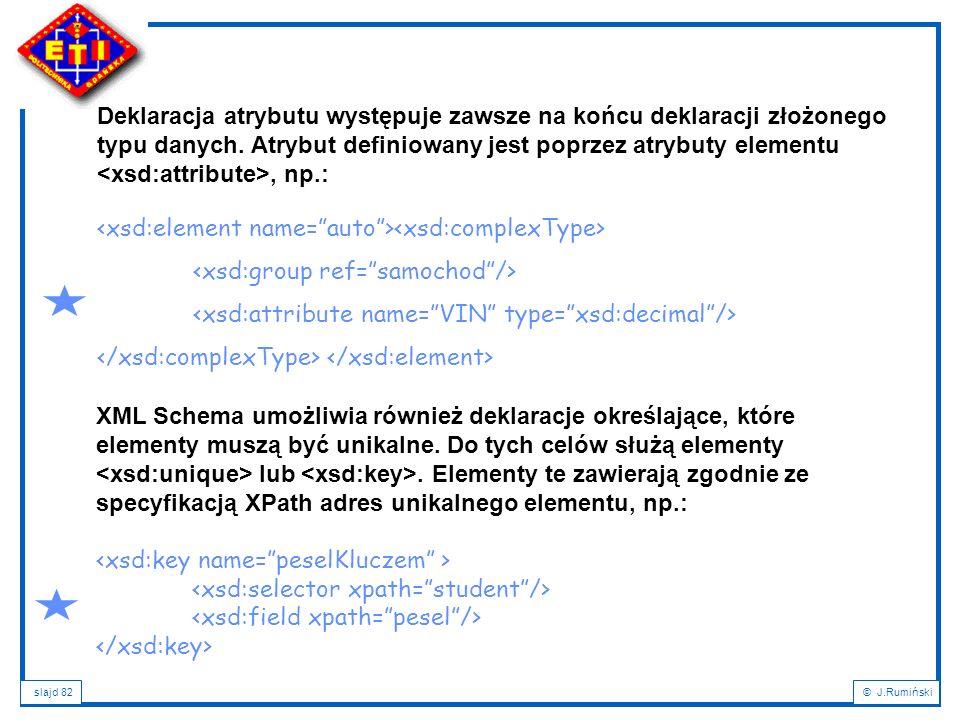 Deklaracja atrybutu występuje zawsze na końcu deklaracji złożonego typu danych. Atrybut definiowany jest poprzez atrybuty elementu <xsd:attribute>, np.: