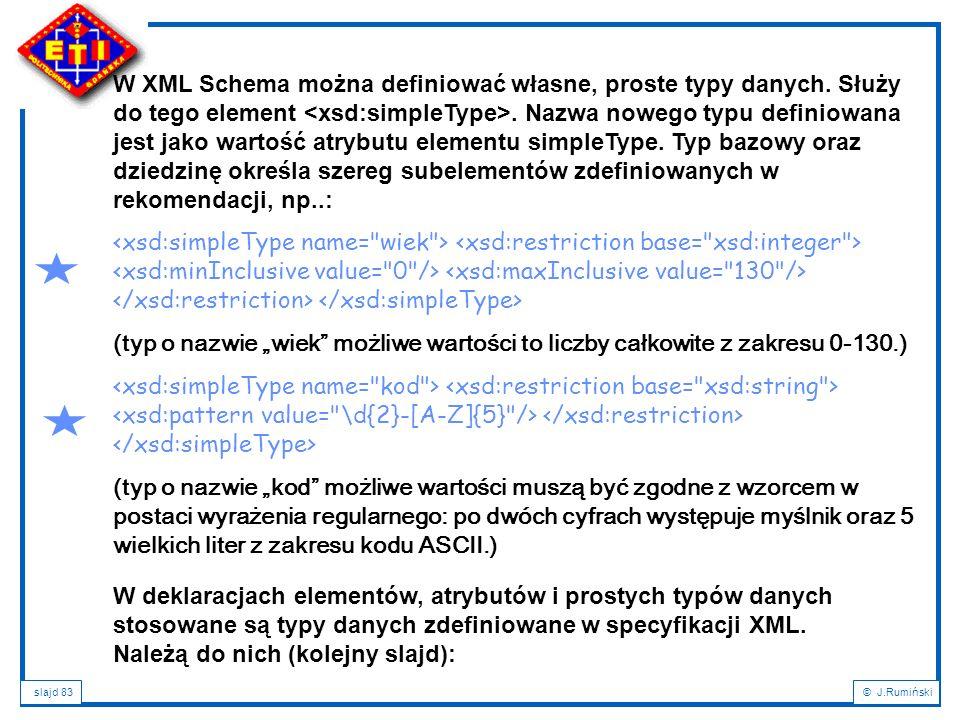 W XML Schema można definiować własne, proste typy danych