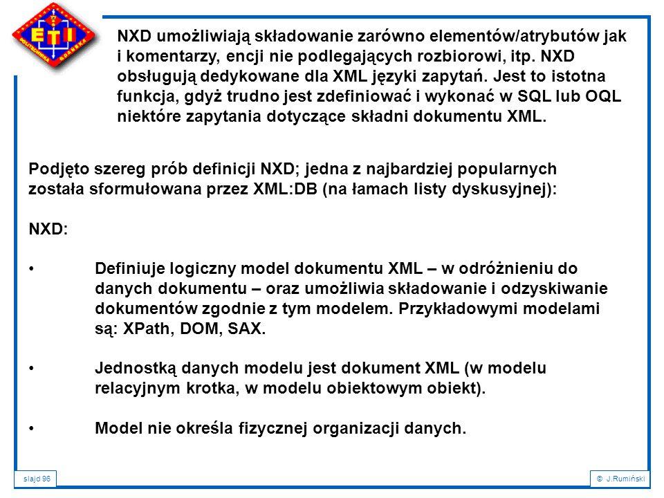 NXD umożliwiają składowanie zarówno elementów/atrybutów jak i komentarzy, encji nie podlegających rozbiorowi, itp. NXD obsługują dedykowane dla XML języki zapytań. Jest to istotna funkcja, gdyż trudno jest zdefiniować i wykonać w SQL lub OQL niektóre zapytania dotyczące składni dokumentu XML.