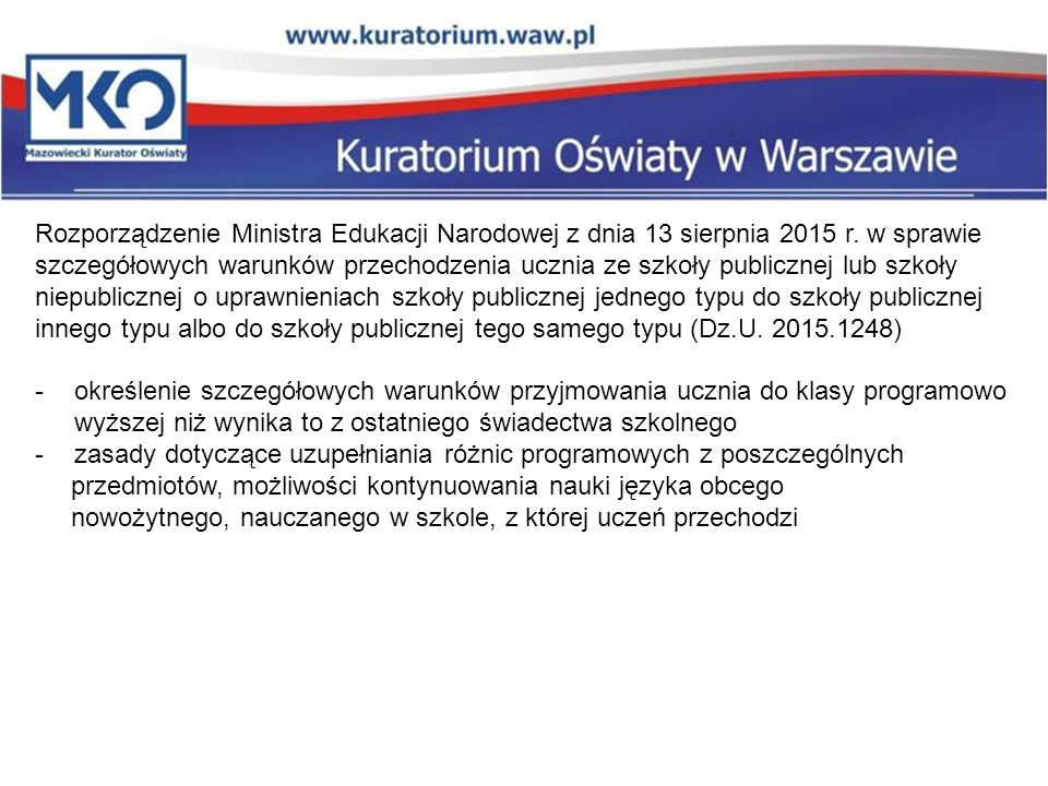 Rozporządzenie Ministra Edukacji Narodowej z dnia 13 sierpnia 2015 r