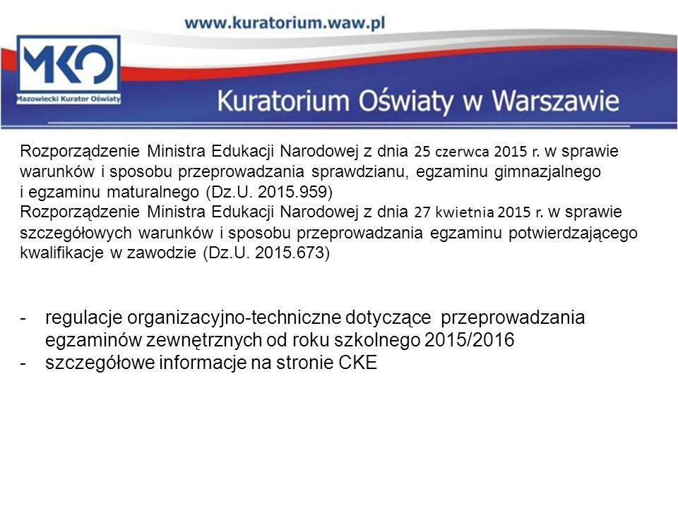 szczegółowe informacje na stronie CKE