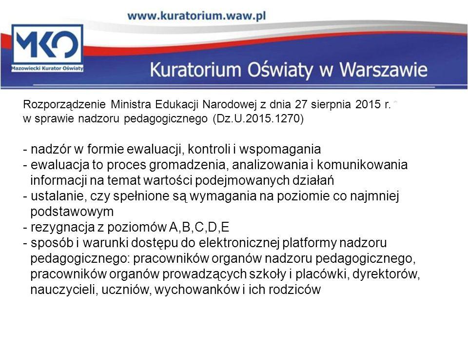 - nadzór w formie ewaluacji, kontroli i wspomagania