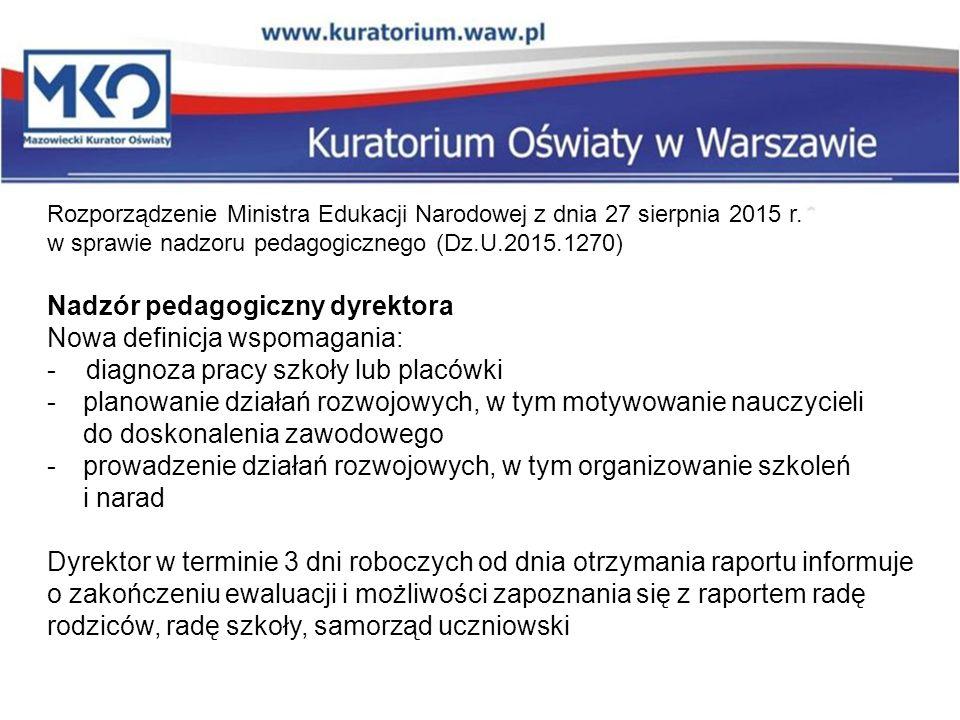 Nadzór pedagogiczny dyrektora Nowa definicja wspomagania: