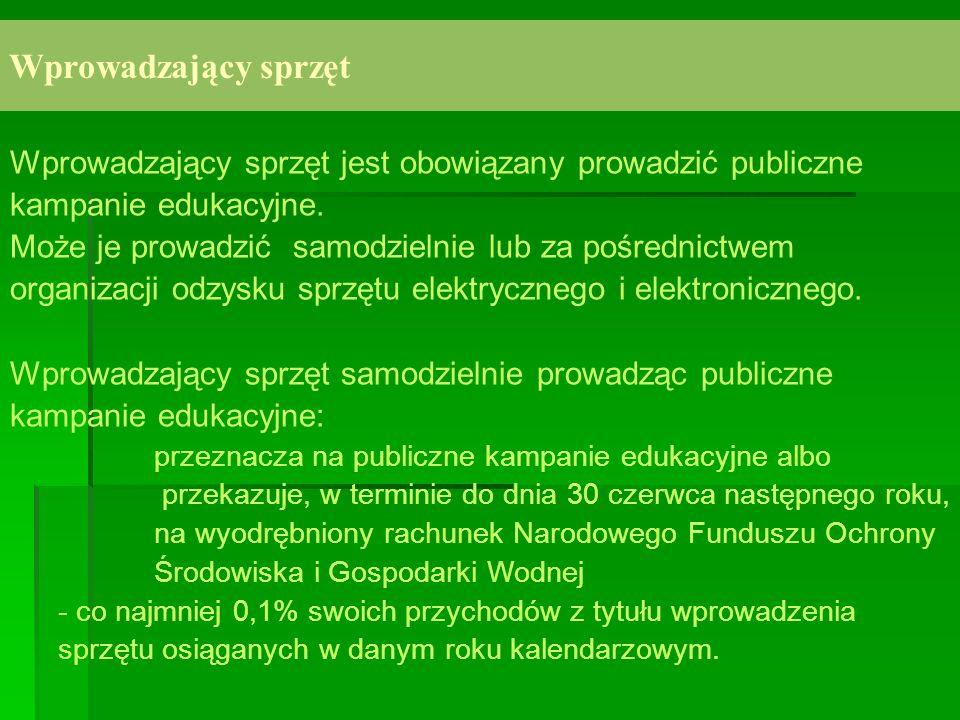 Wprowadzający sprzęt Wprowadzający sprzęt jest obowiązany prowadzić publiczne kampanie edukacyjne.