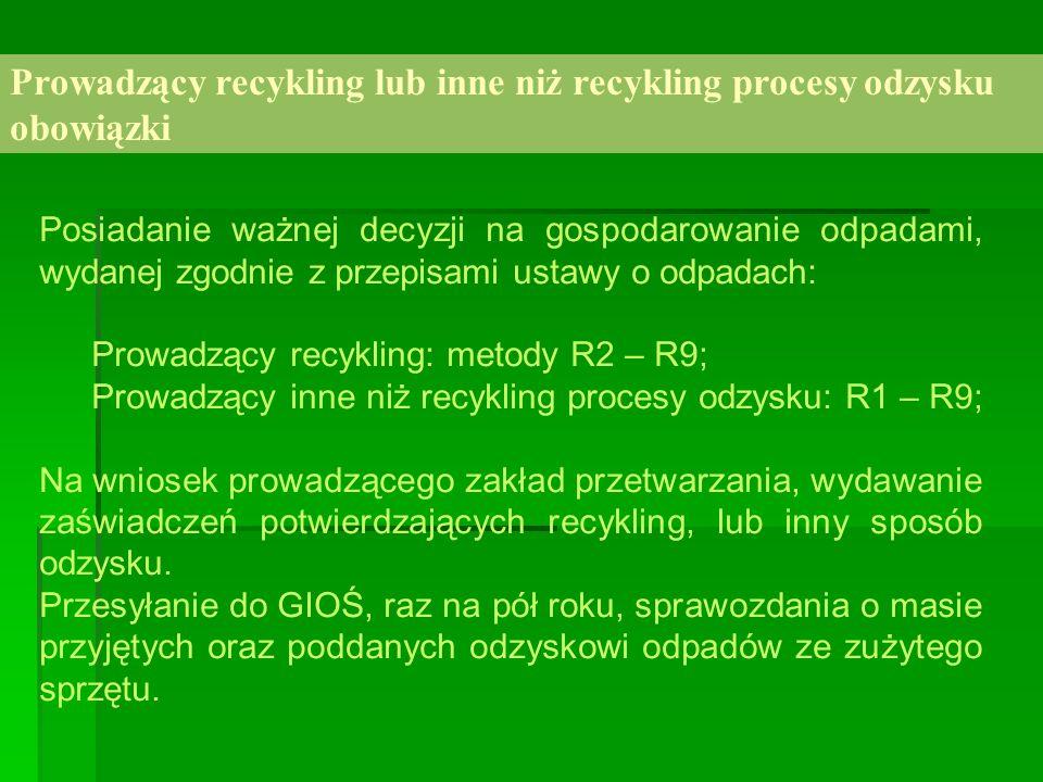 Prowadzący recykling lub inne niż recykling procesy odzysku obowiązki