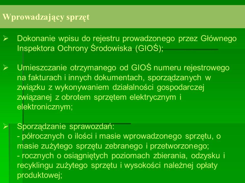 Wprowadzający sprzętDokonanie wpisu do rejestru prowadzonego przez Głównego Inspektora Ochrony Środowiska (GIOŚ);