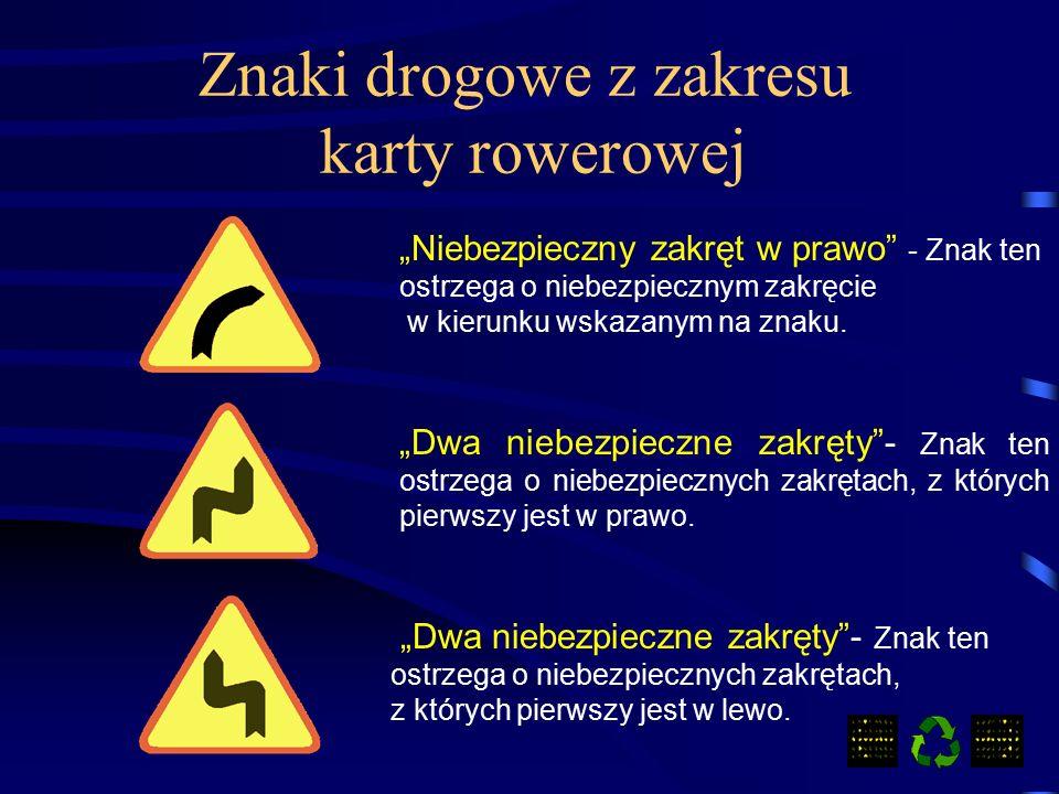 Znaki drogowe z zakresu karty rowerowej