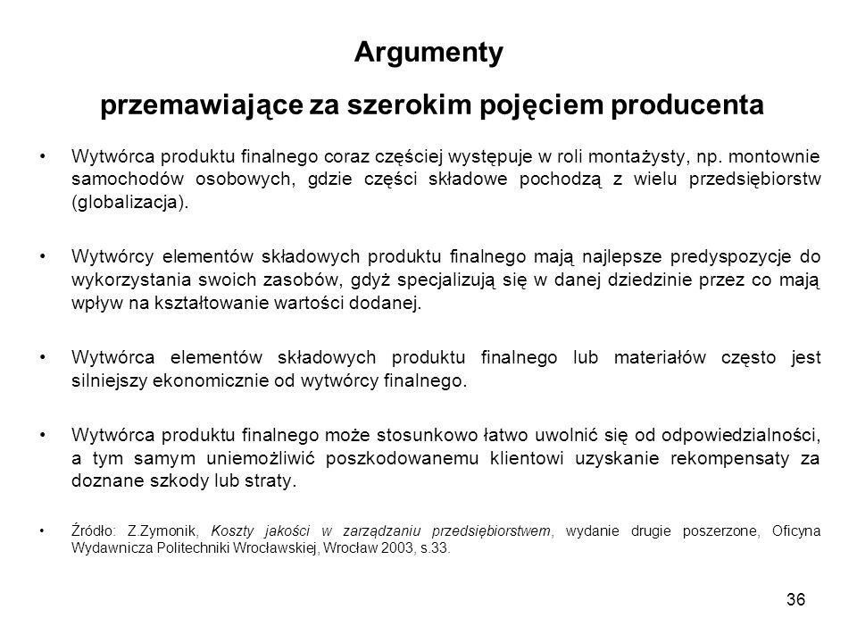 Argumenty przemawiające za szerokim pojęciem producenta