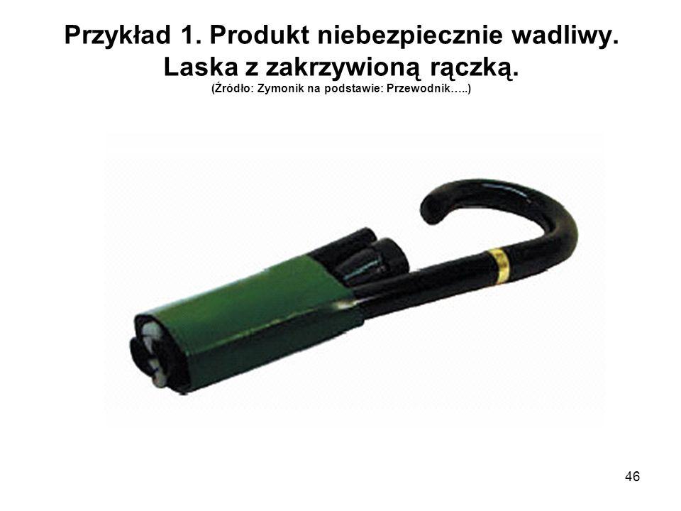 Przykład 1. Produkt niebezpiecznie wadliwy. Laska z zakrzywioną rączką