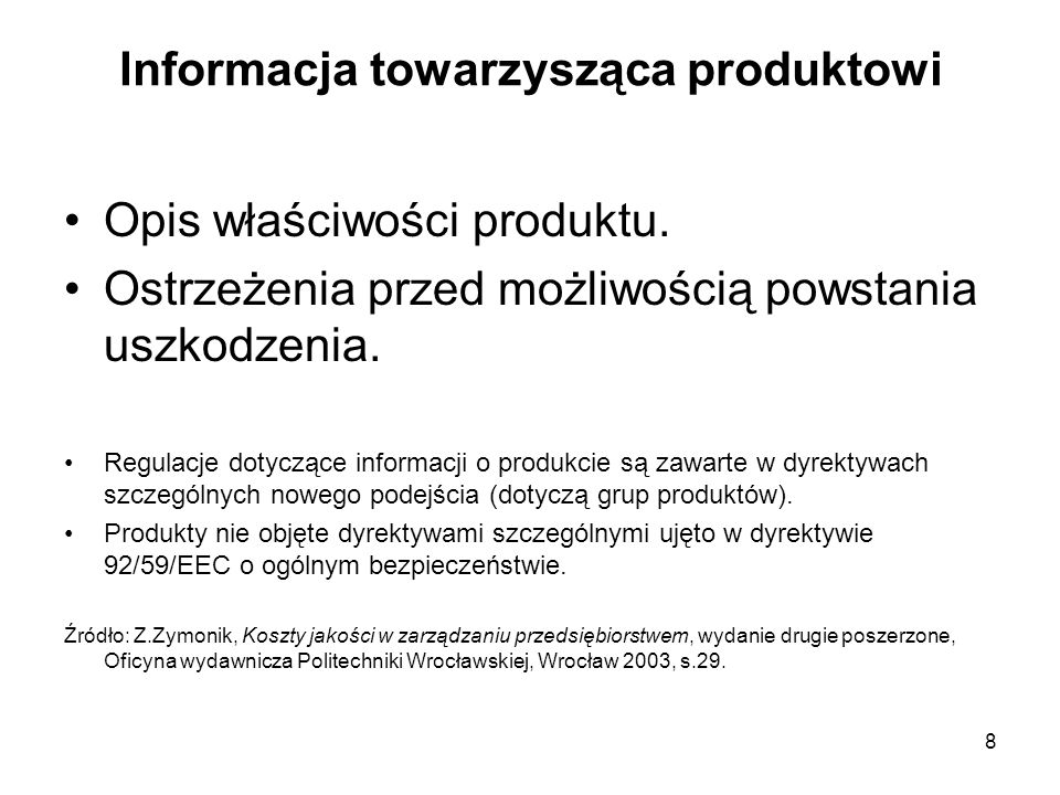 Informacja towarzysząca produktowi