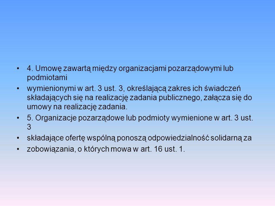 4. Umowę zawartą między organizacjami pozarządowymi lub podmiotami