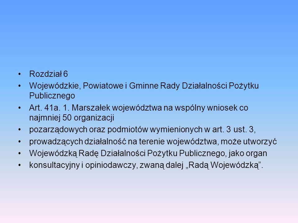 Rozdział 6Wojewódzkie, Powiatowe i Gminne Rady Działalności Pożytku Publicznego.