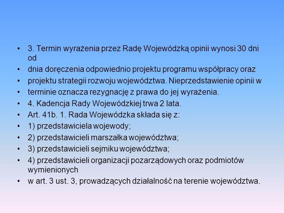 3. Termin wyrażenia przez Radę Wojewódzką opinii wynosi 30 dni od