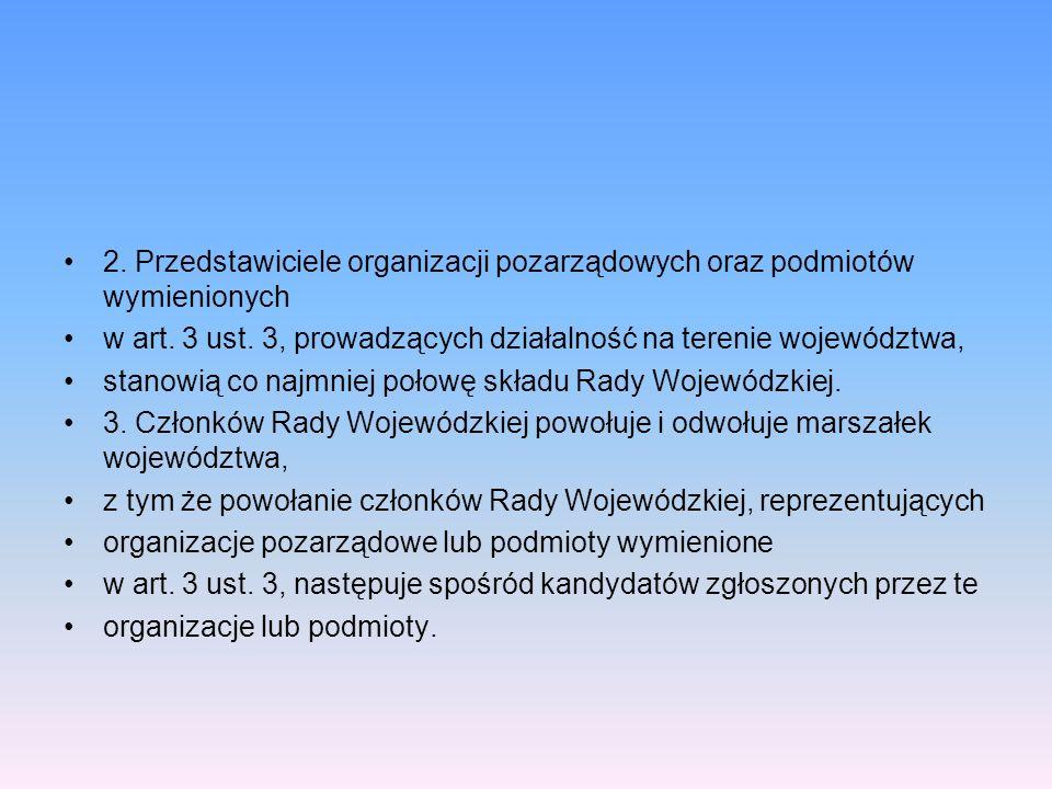 2. Przedstawiciele organizacji pozarządowych oraz podmiotów wymienionych
