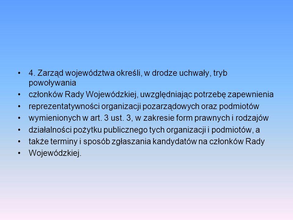 4. Zarząd województwa określi, w drodze uchwały, tryb powoływania