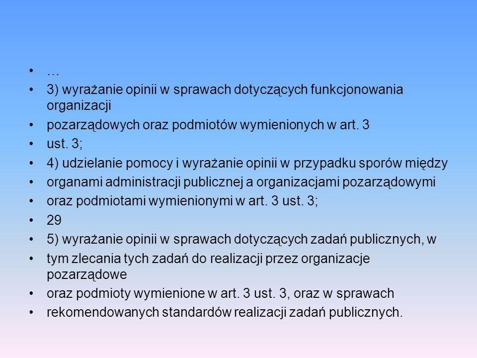 … 3) wyrażanie opinii w sprawach dotyczących funkcjonowania organizacji. pozarządowych oraz podmiotów wymienionych w art. 3.