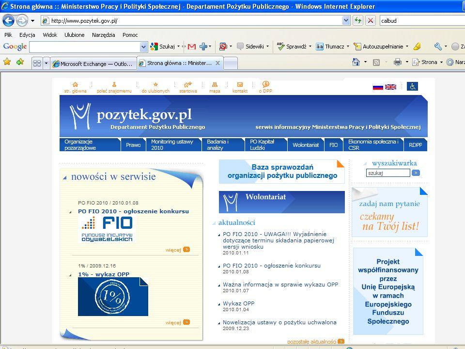 Źródła wiedzy nt. omawianych zagadnień www.pozytek.gov.pl