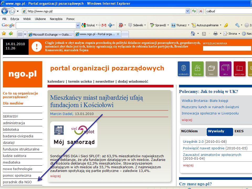 Źródła wiedzy nt. omawianych zagadnień www.ngo.pl