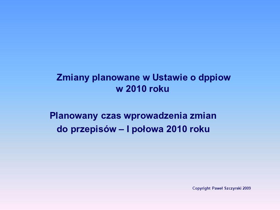 Planowany czas wprowadzenia zmian Copyright Paweł Szczyrski 2009