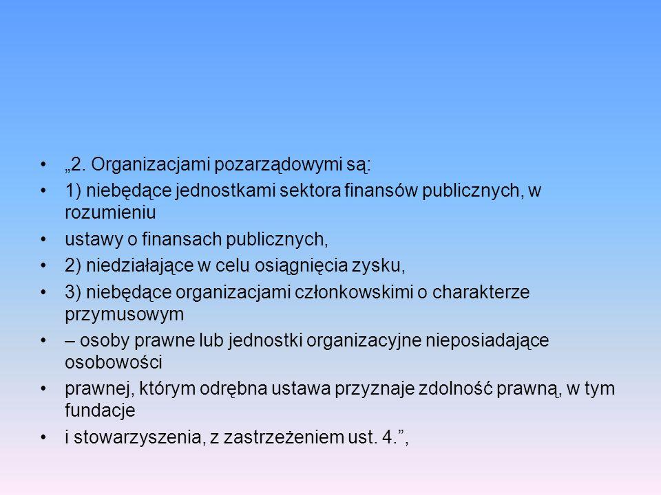 """""""2. Organizacjami pozarządowymi są:"""