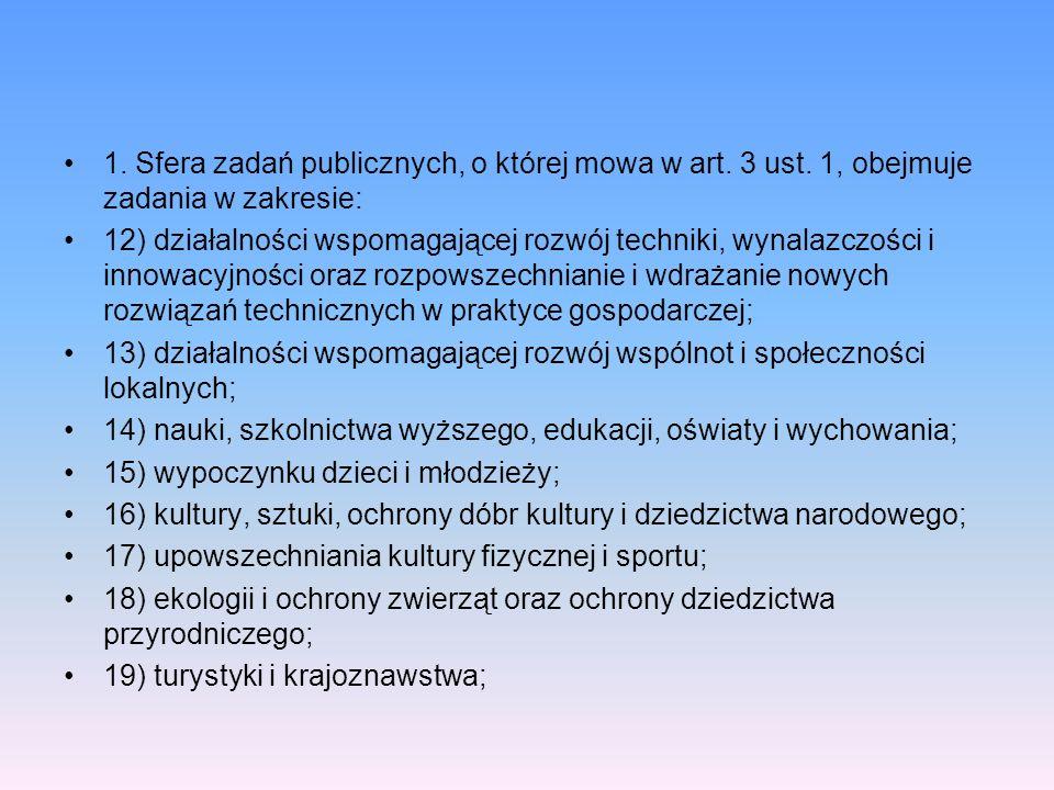 1. Sfera zadań publicznych, o której mowa w art. 3 ust