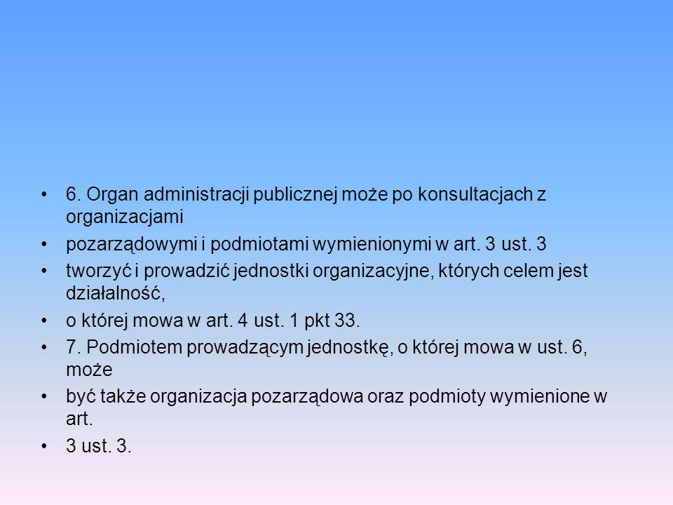 6. Organ administracji publicznej może po konsultacjach z organizacjami