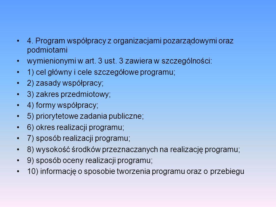 4. Program współpracy z organizacjami pozarządowymi oraz podmiotami