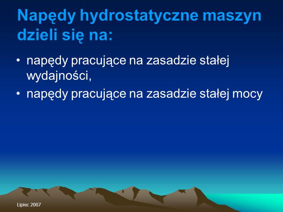 Napędy hydrostatyczne maszyn dzieli się na: